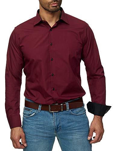 J'S FASHION Herren-Hemd - Slim Fit - Bügelleicht - Langarm-Hemd für Business Freizeit Hochzeit - Bordeauxrot - XL