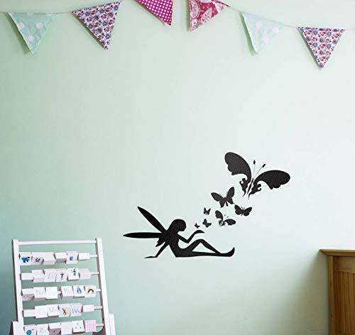 WFYY Fee Schmetterlinge Wandkunst Aufkleber für Kinderzimmer 60X40Cm