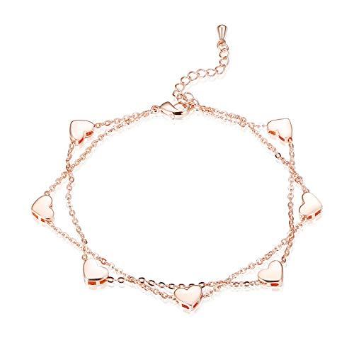 BE STEEL Versilbert Armband Herz für Damen Mädchen Doppel Kette Armband Modeschmuck Geschenk, 17.5 + 3 cm rg