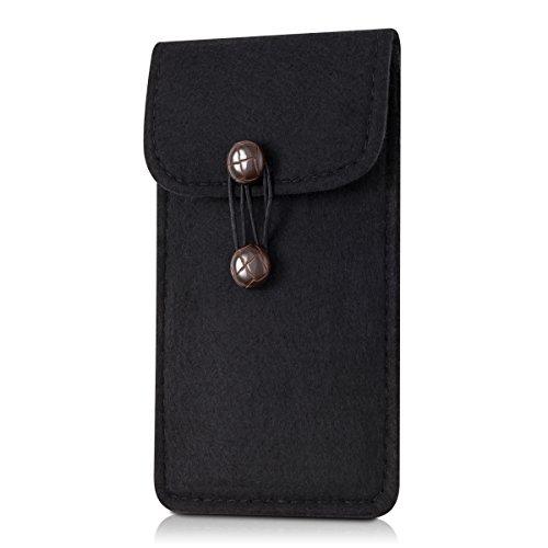 kwmobile Edle Filztasche mit Knöpfen für Smartphones in Schwarz