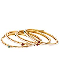 Zeneme Pearls Bangle Set of 4 Jewellery for Women/Girls