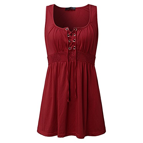 Juleya Sexy Femmes Lace Up V-Cou Blouses Spaghetti Strap sans Manches Stretch Slim Chemises Solid Tops Blusas Vin Rouge