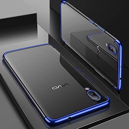 QULLOO Vivo NEX S Handy hülle, Soft Silikon Hülle TPU Bumper Case Ultra Dünn TPU Cover Kratzfest Stoßfest Weich Schutzhülle für Vivo NEX S Case Cover - Blau