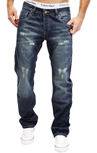 MERISH Jeans Hommes Straight Fit Bleu foncé Denim Delavé stone Used Modell J9163