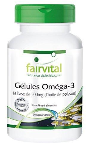 Gélules oméga-3 à base de 500mg d'huile de poisson - (EPA 90mg, DHA 60mg) - 90 gélules - Pour le cœur, les lipides sanguins, les nerfs et les articulations.