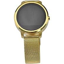 SpaceProTech Impermeable Estilo deportivo Smart Watch Tracker Monitor de ritmo cardíaco Pedómetro Bluetooth Hacer llamadas telefónicas Alarma sedentaria Contador de calorías Apoyo Notificación de mensajes Apoyo Android y iOS smartphones (Oro)