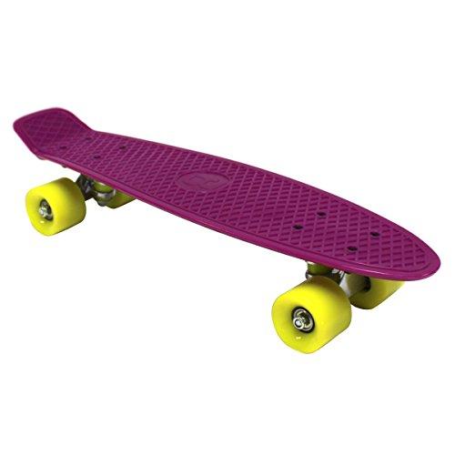Charles Bentley 55,9cm Kinder 70er JahreVintage Retro Cruiser, Mini-Kunststoff-Skateboards, lila mit gelben Rädern, in 11Farben erhältlich