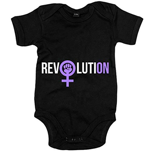 Body bebé revolución feminista Revolution - Negro, 6-12 meses