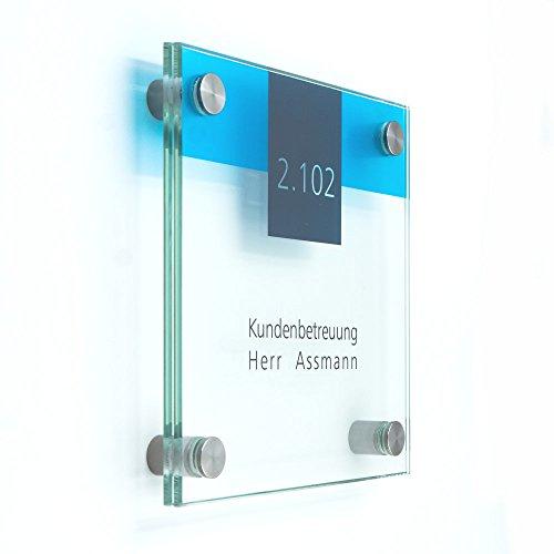 Türschild Glas für Büro, 150x150 mm, Vitum B4