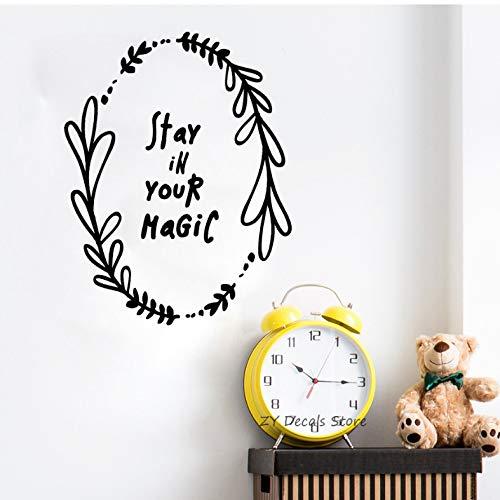 DongOJO Bleiben Sie in Ihrem magischen Zitat Wandaufkleber Babyzimmer abnehmbare freundliche PVC Wandtattoo Kinderzimmer Kunst Aufkleber Kinder 42x54 cm (Zitat Spiegel Der Magische An Wand)