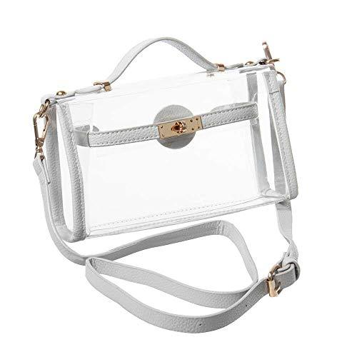 Yocatech Durchsichtige Tasche Crossbody Messenger Umhängetasche Geldbörse für Frauen Verstellbarer Armband (Grau) -