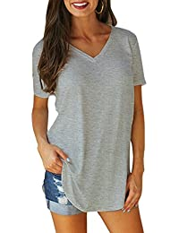 Romacci Women s Short Sleeve T-Shirt Solid Color V Neck Long Casual Tops 5f7bf9080