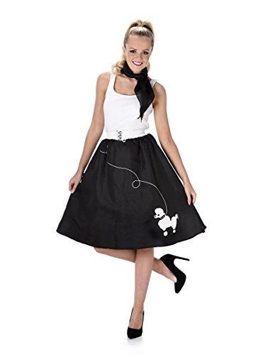 Black Poodle Skirt Ladies Fancy Dress 50s 60s Rock n Roll Womens Adults (Jahren 1950er Dress Fancy)