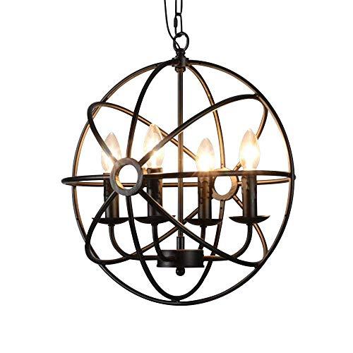 HBLJ 4 Flammige Industrie Hängeleuchte E14 Durchmesser 43cm Pendelleuchte Esszimmer Vintage Lampe Wohnzimmer Mode Kreative kronleuchter -