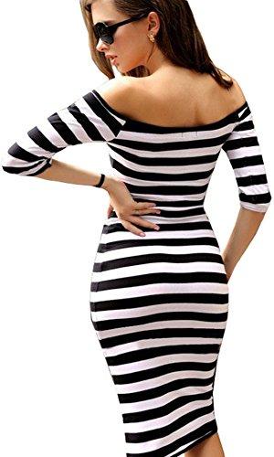 u-shot da donna Stripe off manica damigella d' onore abito Business cocktail party Bodycon Wiggle vestito Black