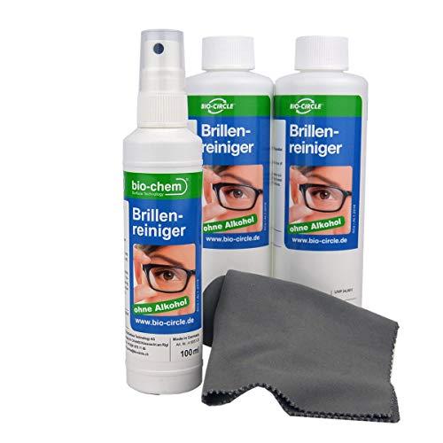 bio-chem Brillenreiniger Sparset 100 ml Sprayflasche + 2 x 250ml (600ml) Nachfüllflaschen + hochwertiges Mikrofasertuch