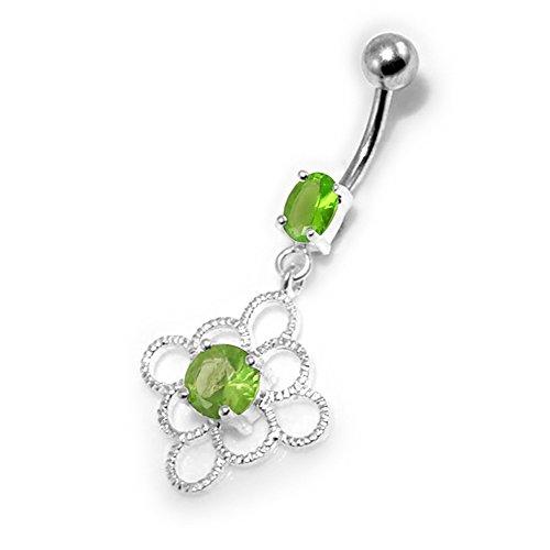 Barres de Pierre en cristal fleur celte tendance Design 925 argent Sterling avec le ventre en acier inoxydable Light Green