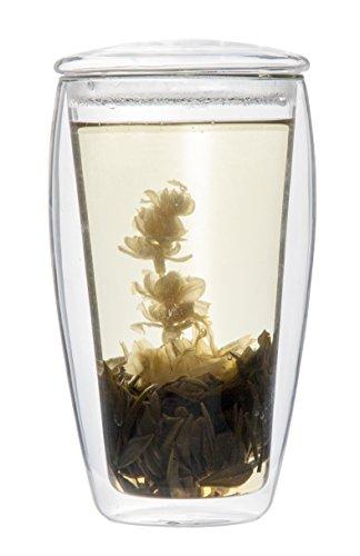 Feelino Bio-Set: 1x 400ml XL doppelwandiges Teeglas mit Glasdeckel + Bio-Teeblume weißer Erblühtee (Thermo-Glas mit Schwebe-Effekt), LaBionda