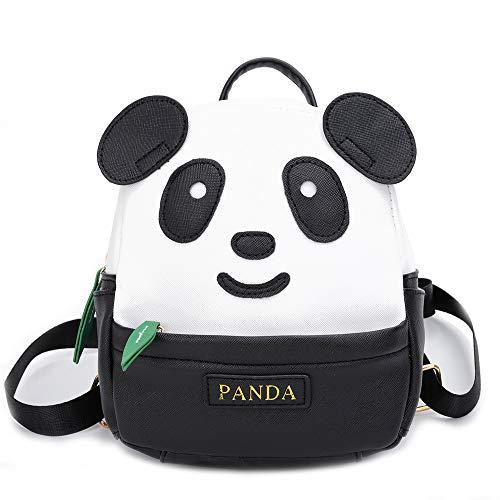 YUHUAWYH Kinder Rucksäcke Kleinkind Panda Cartoon Schultasche Vorschule Kinder Tasche Pu Leder Daypack Reiserucksack für Jungen Mädchen 1-6 Jahre (Schwarz-L)
