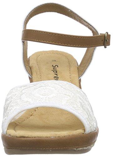 Supremo - Damenschuhe, Scarpe col tacco con cinturino a T Donna Bianco (Bianco)
