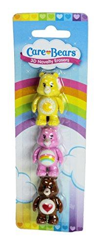 Care Bears 3Stück Neuheit 3D Radierer Radiergummi–Funshine Bear, Cheer Bear und Tenderheart ()