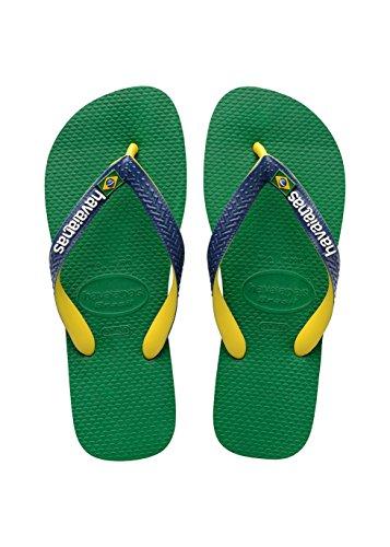 Havaianas Unisex-Erwachsene Zehentrenner, Brasil Mix Green/Navy Blue, 37/38 EU (35/36 Brazilian)