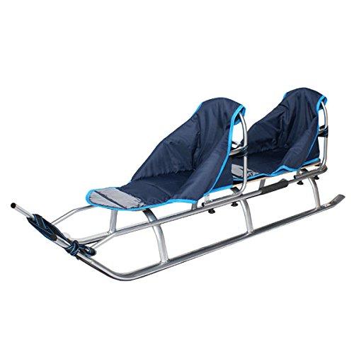 Duo Slitta 2in1per bambini, in alluminio con schienale, cuscini, LED(argento/blu navy)