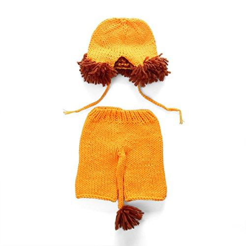 Fashion Neugeborene Jungen Mädchen Baby Kostüm Fotografie Requisiten Löwe Strickmütze Set