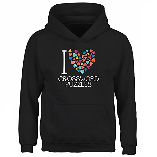 Idakoos I love Crossword Puzzles colorful hearts - Sudadera con capucha niño