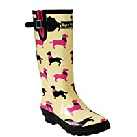 A&H Footwear Ladies Womens New Wide Calf Adjustable Snow Rain Mud Festival Waterproof Wellington Boots Wellies UK 3-8 (Maximum Calf Width 42 cm) (UK 7, Dachshund/Yellow)