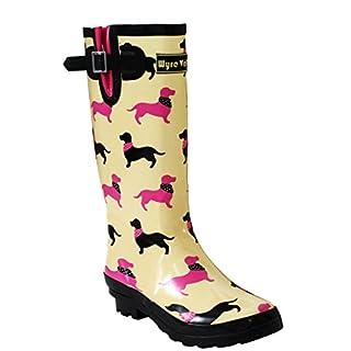 Ladies Womens New Adjustable Calf Waterproof Rubber Festival Rain Mud Snow Girls Wellington Boots Wellies - Sizes UK 3-8 (UK 7, HOUNT DOG)