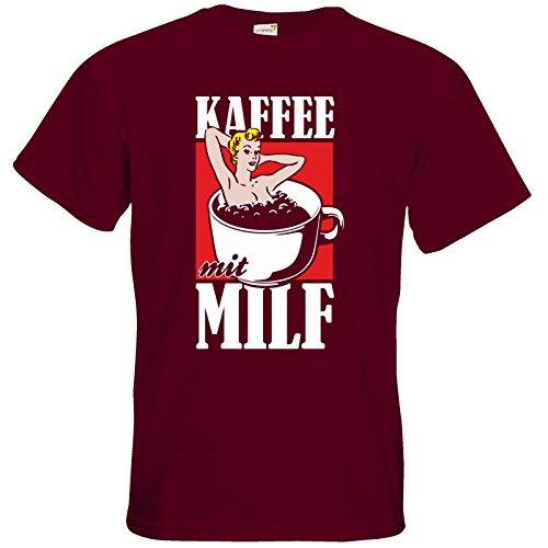 getshirts - Rocket Beans TV Official Merchandising - T-Shirt - Kaffee mit MILF Burgundy