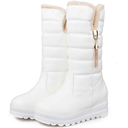 TAOFFEN Damen Winter Warm Snow Boots Keilabsatz Halbschaft Stiefel Casual schuhen Weiß