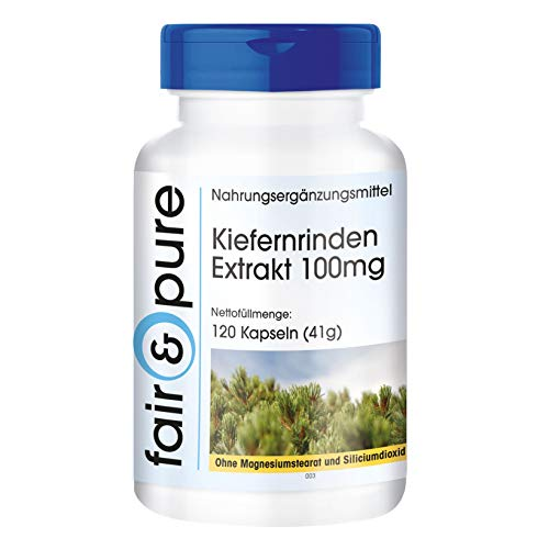 Kiefernrinden Extrakt 100mg - standardisiert auf 95% Proanthocyanidine - vegan - ohne Magnesiumstearat - 120 Kiefernrinden-Extrakt Kapseln