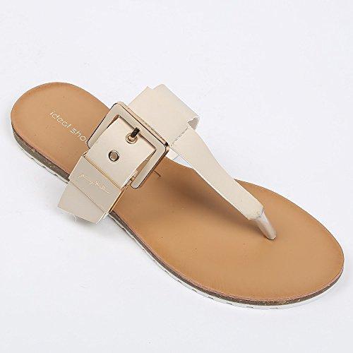 Ideal Shoes–Barfuß mit Lochkoppel Veronica Beige - Beige