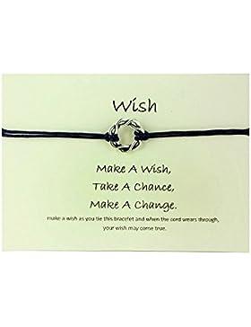 Handgefertigt Geschenk-Karte, Party-Bevorzugung, die Wahl der Farbe, Wish Armband Tibetan Charm Personalisierte...