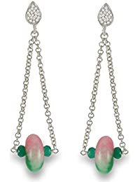 Aastha Jain Pink Green Sterling Silver (18K Gold Polish) Earring For Women