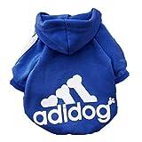 Scheppend Adidog Pet Dog Kleidung Wintermantel Jacket Cat Puppy Hoodie Pullover Baumwolle Kleidung für mittlere Hunde(Saphirblau,Gr.M)