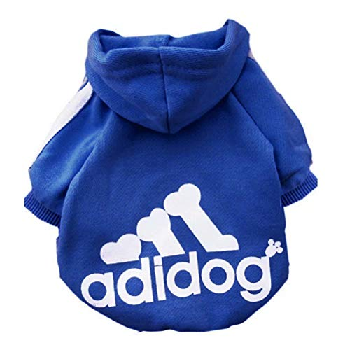Scheppend Adidog Pet Dog Kleidung Wintermantel Jacket Cat Puppy Hoodie Pullover Baumwolle Kleidung für großen Hunde(Saphirblau,Gr.XXL) (Große Hund Kleidung)