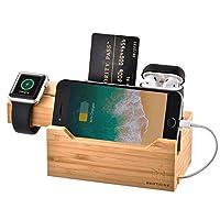 حامل شاحن لساعة أبل من جامي منصة شحن خشبية من خشب الخيزران، منظم مكتب متوافق مع AirPods/Apple Watch Series3/2/1/iPhone