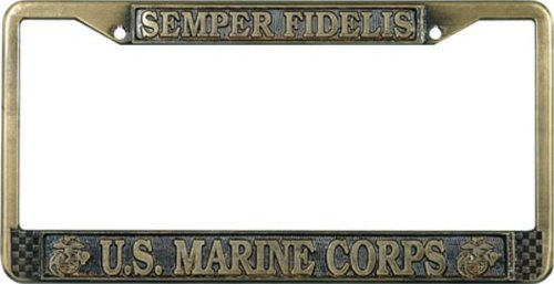 U.S. Marines License Plate Frame (Antique Brass Plated) by License Plate Shop