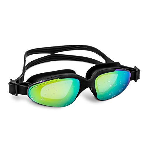 VETOKY Schwimmbrille, Verspiegelte Schwimmbrillen UV Schutz kein Auslaufen für Erwachsene Herren Damen und Kinder, Schwarz mit Gold Verspiegelt Linsen