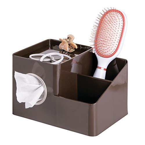 mDesign Organizador para baño y lavabo – Práctico organizador de accesorios para baños y cosméticos – Elegante organizador de maquillaje para baño con dispensador de pañuelos – marrón/plateado mate