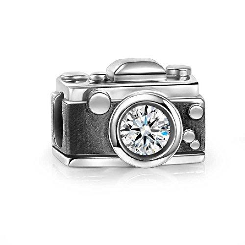 SOUFEEL Caméra Vintage Charm en Argent Sterling 925 avec Swarovski Cristal Compatible Européen Bracelet pour Charms Colliers Bracelets