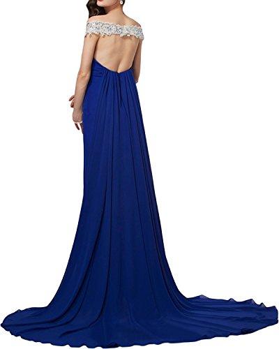 Gorgeous Bride Romatisch Meerjungfrau Traeger Chiffon Spitze Schleppe Abendkleider Lang Ballkleider Festkleider Inkblau
