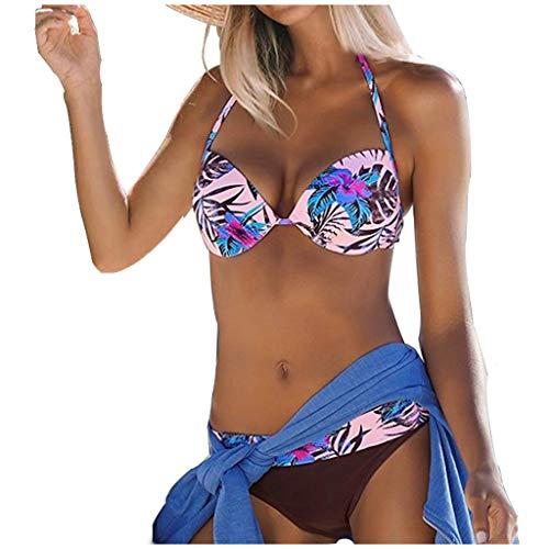 MERICAL Frauen Push Up High Cut V-Ausschnitt Zweiteiler Bikini Bademode Badeanzug Beachwear