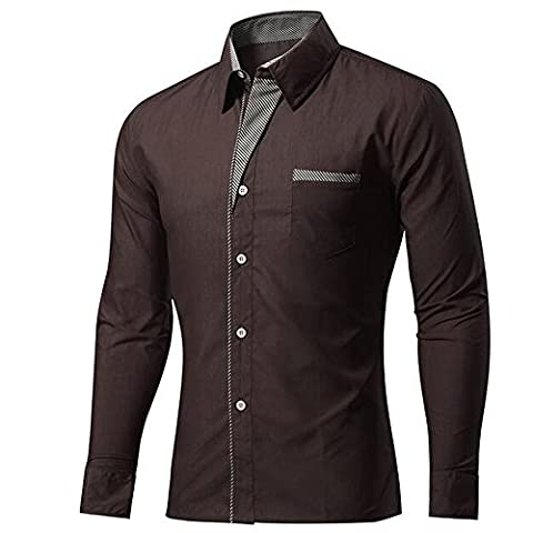 BOZEVON Men's Long Sleeve Shirts Button Front Polyester &Cotton Slim Fit Plain Color stripe S-4XL