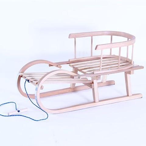 Hörnerrodel mit Rückenlehne und Zugseil, 73cm (Hörnerschlitten Mit Rückenlehne)
