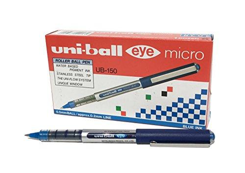 Penna rollerball UB-150 Eye Micro, inchiostro blu Uni-ball Super Ink, pennino da 0,5 mm, scatola da 12 pezzi