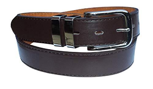 Ceinture en cuir élégant Pantalon pour homme avec double boucle Chrome Boucle : Noir : marron : jusqu'à 152,4 cm Tour de taille - Marron - XXL